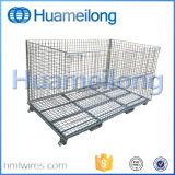 Empilhando Foldable galvanizado fixar a gaiola do metal do armazenamento