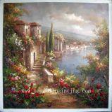 油絵-古典的な庭場面