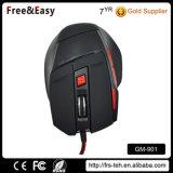 Ratón para juegos 7D Soft Touch Negro trenzado del cable USB