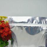 투명한 1 옆 알루미늄 및 상대방은 지퍼를 가진 주머니를 위로 서 있다