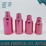 El nuevo diseño al por mayor modificó la botella de aceite esencial de cristal roja Rose de Electroplated