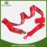 Lanière faite sur commande d'USB estampée avec l'USB approprié à la promotion