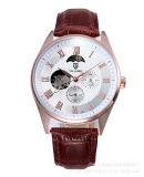 Piel Tevise para hombre del reloj Relojes de los hombres automáticos esquelético mecánico relojes casual impermeable reloj de pulsera reloj de la marca
