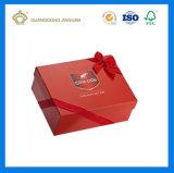Rectángulo de papel de empaquetado impreso de lujo del chocolate de Matt del color rojo (con la hoja de la insignia del oro)