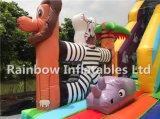 Trasparenza gonfiabile gigante della giungla di Clourful di disegno popolare con il gioco degli animali del fumetto e della piattaforma