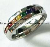 Popular de alta calidad Zircon acero inoxidable Jewellry anillo