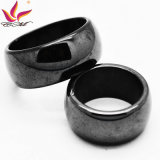 Htr-010A Fashion Glaze 10mm Width with Magnetic Black Mens Hematite Ring
