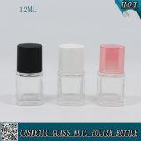 12ml botella de uñas de vidrio vacío cuadrado con tapa de pincel de uñas redonda