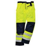 Il lavoro riflettente giallo di sicurezza ansima l'alto pantalone del Workwear di visibilità