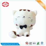 Cute Fancy White et Brown Cat Peluche pelucheux