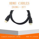 金によってめっきされるプラグの男性男性HDMIケーブル