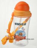 scherzt netter Plastik 450ml Cup-Wasser-Flasche mit Stroh, leichte Flasche (hn-1202)