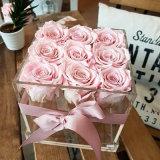 2018 le type neuf Rose enferme dans une boîte la boîte de présentations acrylique de fleur