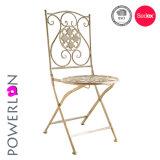 耐久の椅子を折る旧式な白を使用して屋外