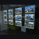Caja de luz LED con marco de cartel de cristal para la ventana del agente inmobiliario muestra