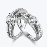 La moda de joyería de plata 925 Joyas de los amantes del juego de anillo de diamantes