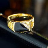 크기 7-12 고전적인 금 색깔 모조 다이아몬드 남자 반지