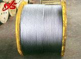 주문을 받아서 만들어진 아연에 의하여 직류 전기를 통하는 철강선 밧줄 6X19 Sc