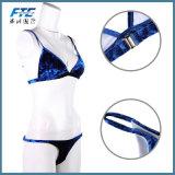 Swimwear su ordine del velluto del reggiseno del bikini del costume da bagno del velluto delle 2 parti