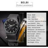 Zilver van de Ventilators van de Sporten van de Polshorloges van de Mensen van Belbi het Klassieke Ronde Toevallige Analoge horloge-Zwarte Gouden