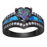 De zwarte Geplateerde Ringen van het Hart van de Regenboog Blauwe Opalen voor Vrouwen