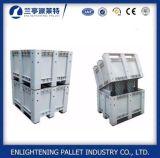 Grande caixa de pálete plástica da capacidade 606L com a tampa para a indústria