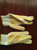 Gants pointillés par PVC normaux respirables tricotés de jaune de coton
