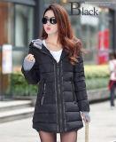 新しいコートのジャケット2018の厚の長い方法冬のジャケットの女性Parkaの女性の細い毛皮カラー冬の女性のための暖かい綿のコートの下で
