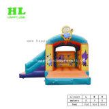 Gelbes aufblasbares kombiniertes federnd Plättchen-Schloss für Kinder