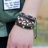 4PCS Armband van de 1sets Multilayer Gevlechte Manchet voor Mensen