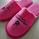 Embroider Logo 반대로 Slip Sole를 가진 면 Velour Disposable Hotel Slippers
