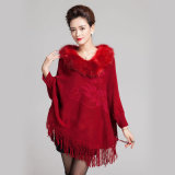 fashion Fur Collar Acrylic에 의하여 숙녀 뜨개질을 하는 프린지 겨울 판초 (YKY4477)