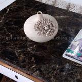 Mesa de café de aço inoxidável de aço inoxidável com mármore preto luxuoso com gaveta