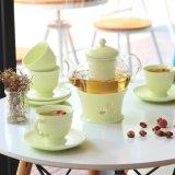 Conjunto de té de cristal determinado de la cena de la porcelana de la porcelana del crisol de cristal creativo del café