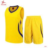 シンプルな設計6XLのバスケットボールジャージーは可逆バスケットボールのユニフォームの黄色をカスタマイズする