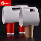 Portador impreso del café blanco del papel de 4 tazas