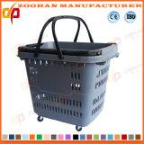 Qualitäts-Plastiksupermarkt-Einkaufskorb mit Rädern (Zhb172)