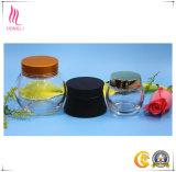 顔マスクのガラス装飾的な瓶、円形の目のクリーム色の包装のびん