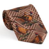 Cravate estampée par fantaisie faite sur commande de polyester de soie de 100% (NT-011)