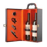 Высокое качество роскошь две бутылки вина выполните окно упаковки из натуральной кожи
