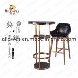 Mobiliário de bar / cafetaria Topo e base de mármore redondo de aço inoxidável Barra Grande conjunto de mesa