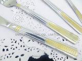 Couverts d'acier inoxydable d'or de Rose de vaisselle plate de couverts