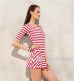 Круглой горловины полосой Tankini Half-Sleeves юбка купальный костюм