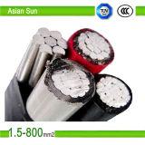 PVC en aluminium du faisceau 0.6/1kv, XLPE a isolé le câble aérien d'ABC de paquet