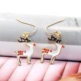 Brincos de gota coloridos da rena do esmalte da jóia da forma do Natal para mulheres