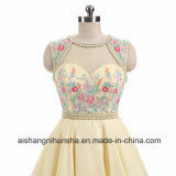Элегантный стороной без рукавов платья Knee-Length Шифон Homecoming платья с валика клея