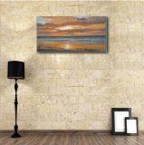日没の海の波の装飾的な絵画