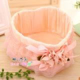 Rose Fabric Rattan Weave Storage Basket, caixa de armazenamento de mesa fina para jóias / presente