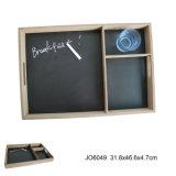 Горячий En71 со стандартом ASTM деревянные продовольственной лоток с Blackboard