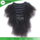 Clip sin procesar del pelo humano en el pelo 100% de Remy de la Virgen del pelo para la mujer negra